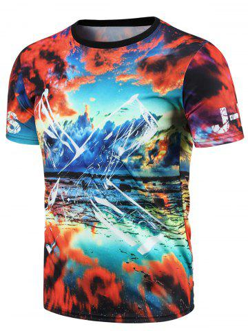 Affordable Round Neck 3D Colorful Sky Print Short Sleeve T-Shirt For Men COLORMIX XL