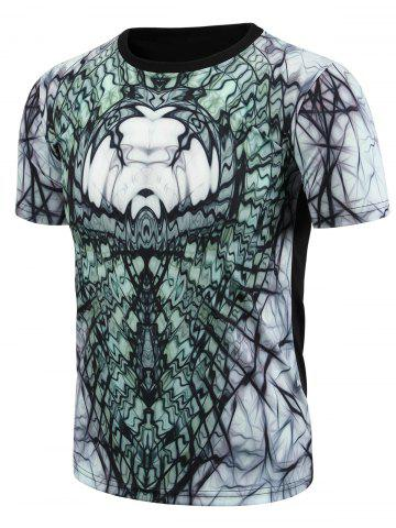 Discount Round Neck 3D Abstract Geometric Print Short Sleeve T-Shirt For Men COLORMIX L