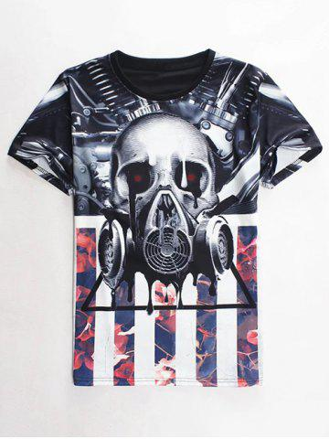 Discount Slimming Round Neck 3D Mechanical Skull Print Short Sleeve Men's Graphic T-Shirt COLORMIX M