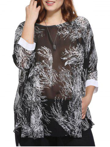 Best Stylish Loose-Fitting Scoop Neck Tree Print Top For Women BLACK ONE SIZE(FIT SIZE L TO 3XL)