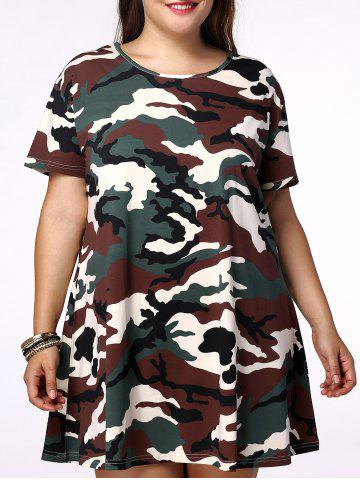 Buy Plus Size Casual Short Sleeves Camo Dress CAMOUFLAGE 2XL