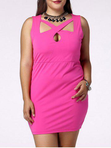 Sale Plus Size Sleeveless Cut Out Bandage Dress ROSE 4XL
