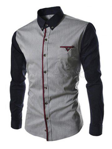 Fashion Casual Color Block Button-down Long Sleeves Shirts For Men DEEP GRAY 2XL
