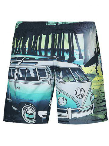 Chic Casual Car Printed Straight Leg Lace Up Boardshorts