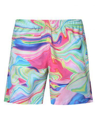 Online Casual Painting Straight Leg Lace Up Boardshorts