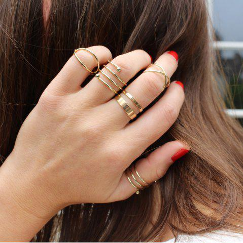 Fashion 6PCS of Chic Women's Round Solid Colour Rings GOLDEN ONE-SIZE