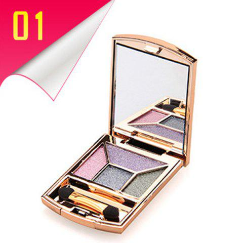Shop Stylish 4 Colours Rhinestone Earth Colors Diamond Eyeshadow Palette with Mirror and Brush