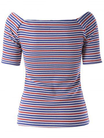 Best Fashionable Stripe Knitting Tee For Women - L COLORMIX Mobile