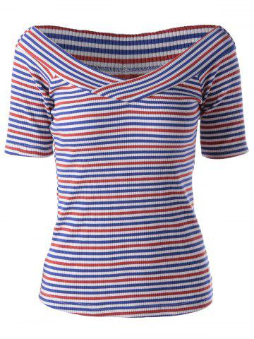Shops Fashionable Stripe Knitting Tee For Women