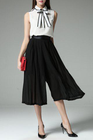 Unique Bowknot Shirt and Pleated Wide Leg Pants Twinset