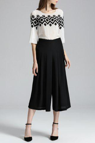 Outfits Print Blouse and Wide Leg Pants Twinset