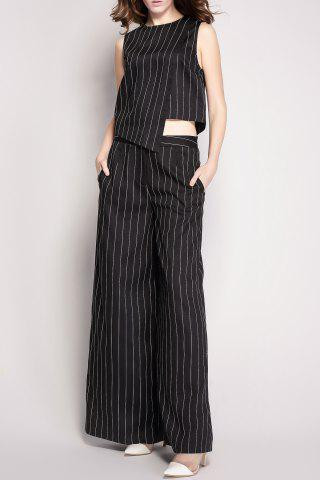 Hot Striped Pockets Wide Leg Pants