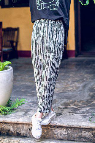 Discount Elastic Waist Striped Ankle Pants