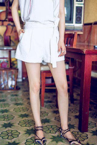 Fashion Cotton Cuffed Pleated Shorts