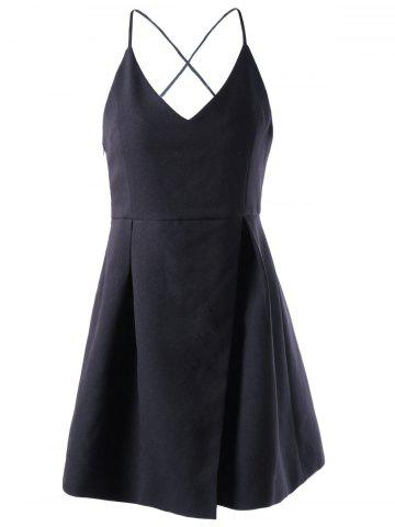 Outfit Spaghetti Straps Cute Skater Dress - M BLACK Mobile