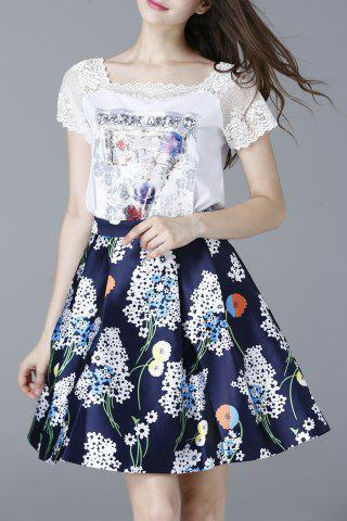 Chic Lace Spliced T-Shirt and High Waist Printed Skirt Twinset