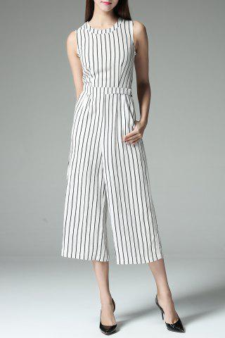 Fashion Slimming Striped Wide Leg Jumpsuit