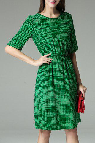 Latest Chest Pocket Elastic Waist Print Dress