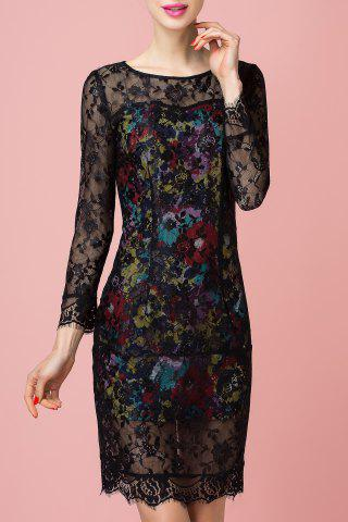 Chic Sheath Floral Print Lace Spliced Dress