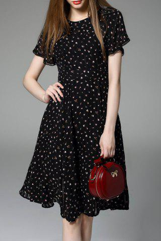 Affordable Floral A Line Cut Out Swing Dress