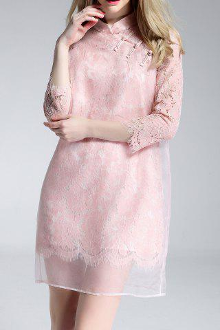 Hot Mandarin Collar Lace Spliced Dress