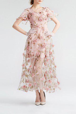 Store Floral Sheer Maxi Swing Dress