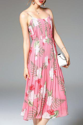 Latest Flower Print Pleated Dress