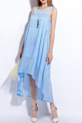 Store Sleeveless Solid Color Asymmetric Dress