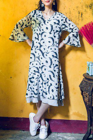Best Printed Flare Sleeve Midi Dress