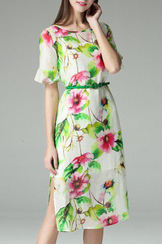 Outfit Ruffle Sleeve Flower Print Dress with Cami Dress