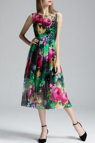 Unique Sleeveless Floral Pattern Dress