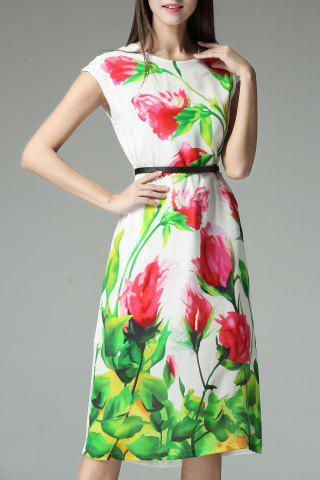 Trendy Flower Print Belted Dress