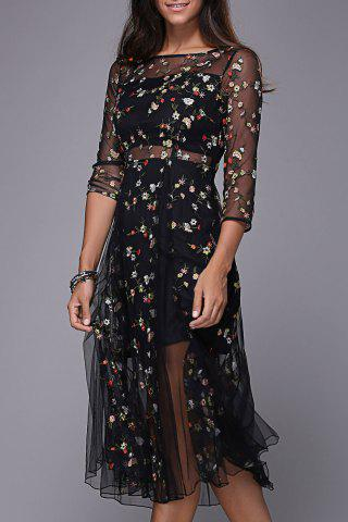 Cheap Flower Embroidered Sheer Midi Dress