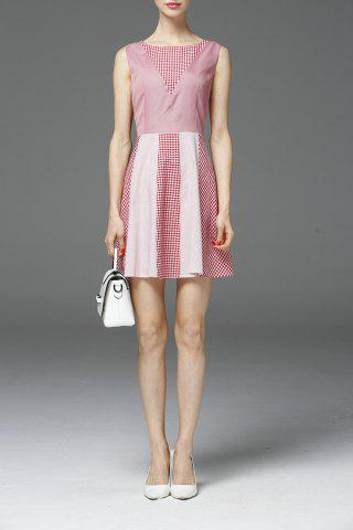 Outfit A-Line Check Spliced Dress