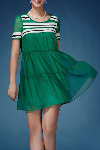 Outfit Stripe Spliced Pleated Dress