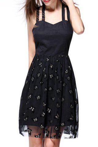 Best Strappy Gauze Spliced Butterfly Print Dress