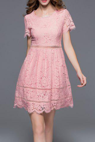 New Short Sleeve Hollow Out Solid Color Dress