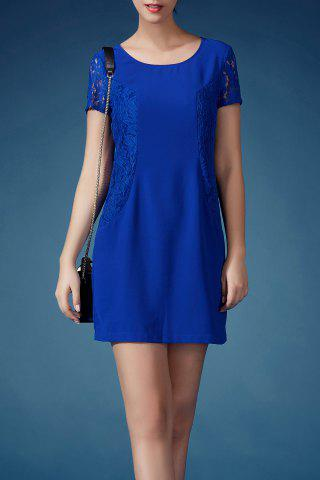 Online Lace Spliced Solid Color Sheath Dress