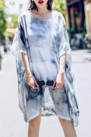 Latest Tie Dye Asymmetric Batwing Sleeve Dress