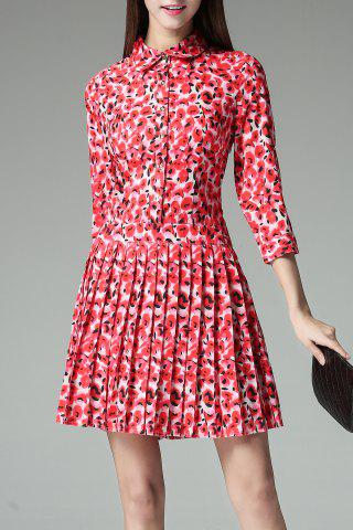 Hot Button Front Pleated Dress
