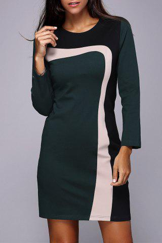 Online Color Block Long Sleeve Work Dress