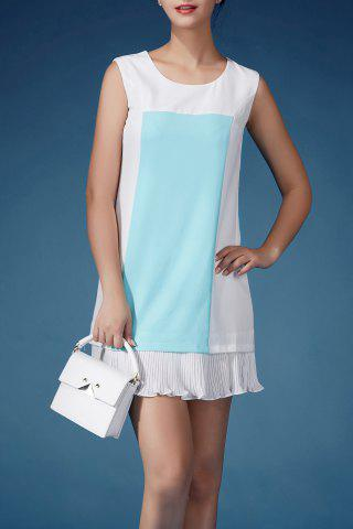 Buy Sleeveless Color Block Flounced Dress