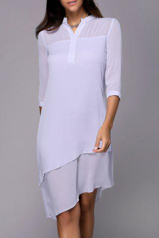 Sale Solid Color High Low Shirt Dress