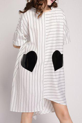 Sale Striped Pockets Patchwork Shirt Dress
