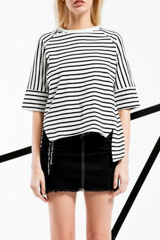 Store High Low Stripe Cotton Tee