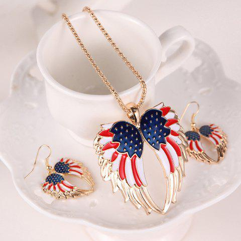 Buy American Flag Wings Necklace and Earrings - GOLDEN  Mobile