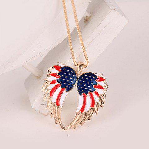 Fashion American Flag Wings Necklace and Earrings - GOLDEN  Mobile