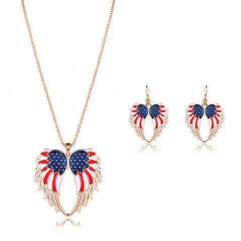 New American Flag Wings Necklace and Earrings - GOLDEN  Mobile