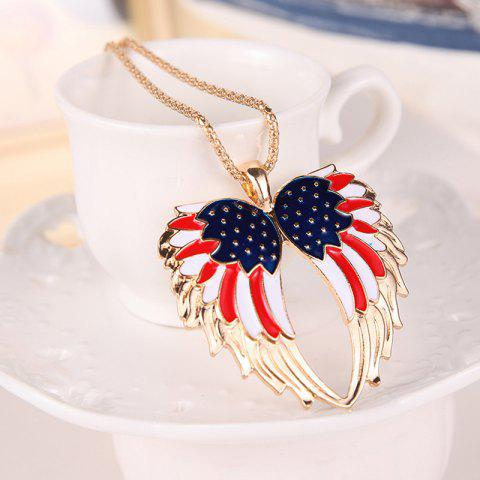 Cheap American Flag Wings Necklace and Earrings - GOLDEN  Mobile