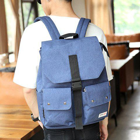Shops Casual Pocket and Canvas Design Backpack For Men - BLUE  Mobile